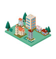 mini trees and buildings neighborhood isometric vector image vector image