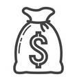 money bag line icon business and finance vector image vector image