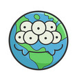 monster smiling planet earth cartoon vector image vector image