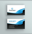 professional blue wave business card template vector image vector image