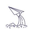 purple line contour of paper plane launch vector image vector image