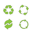 recycle icon set green on white background vector image vector image
