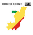 repulic of congo map border with flag eps10 vector image