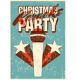 Retro grunge Christmas karaoke party poster vector image