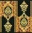 seamless damask pattern gold on black and animal vector image vector image