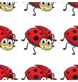 seamless pattern tile cartoon with ladybug vector image