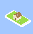 Search for real estate via the Internet through vector image vector image