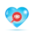 search icon inside shiny heart vector image vector image