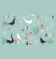 set design elements and birds vector image vector image