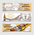 set of beer brewery vintage banners with vector image