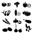 set of black simple vegetables icons eps10 vector image vector image