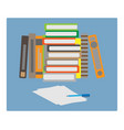 set of books and a piece of paper vector image vector image