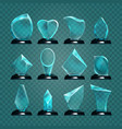 set of isolated glass trophy for winning award vector image vector image