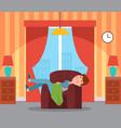 sleeping boy on armchair interior room vector image vector image