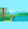 summer landscape with lake and deer vector image