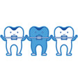 teeth cartoon holding hands with dental braces in vector image