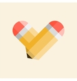 Two yellow pencils forming a shape of a heart vector image vector image