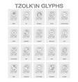 tzolkin calendar named days and associated glyphs vector image vector image