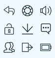 user icons line style set with audio return vector image vector image