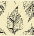 vintage seamless pattern with hand-drawn feathers vector image vector image