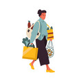 woman with shopping bags young female walking vector image vector image