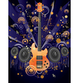 Grunge Guitar and Loudspeakers vector image