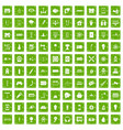100 energy icons set grunge green vector image vector image