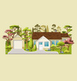 a classic family house with trees vector image vector image