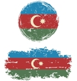 Azerbaijani round and square grunge flags vector image vector image