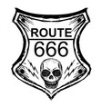 black route 666 sign on a white background vector image vector image
