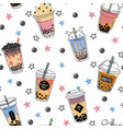 bubble tea seamless pattern popular asian cold vector image