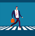 businessman walking crosswalk man in suit going vector image