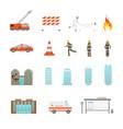 cartoon firefighting in city icon set vector image vector image