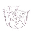 cats are hugging sketch on white background vector image
