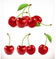 cherry sweet fruit 3d icons set realistic