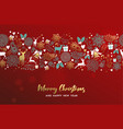 christmas and new year gold deer ornament card vector image vector image