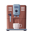 coffee machine and white cup coffee maker kitchen vector image