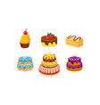 collection of cakes set confection desserts vector image vector image