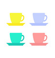 colorful coffee cups set vector image vector image