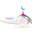 colorful creative mosque design for ramadan vector image vector image