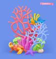 coral reef and fish 3d cartoon plasticine art vector image