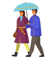 couple goes in rain happy man and woman vector image vector image