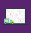 delivery van on city map background delivery vector image vector image
