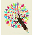 Diversity hand concept pencil tree vector image vector image