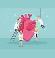 doctors treat a sick heart vector image
