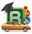 Driving School Concept with Car vector image vector image