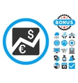Euro Dollar Chart Flat Icon with Bonus vector image vector image