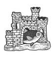 fish in aquarium castle sketch vector image vector image