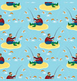 fisherman and fish seamless pattern vector image