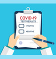 form covid19 report medical checklist vector image vector image